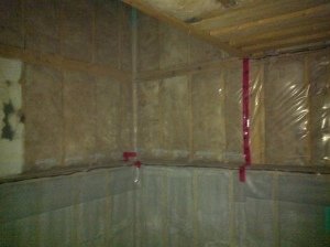 Here is batten above and open-cell spray foam below.
